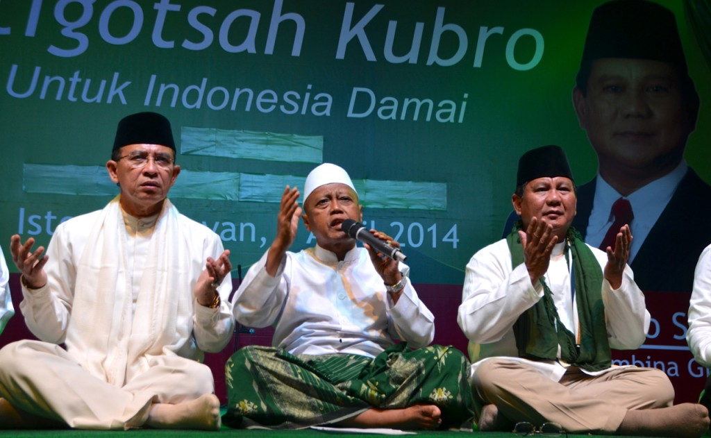 Presidential aspirant Prabowo Subianto (right) pictured at pre-election prayer rally in Jakarta. On the left of the photo is Suryadharma Ali (Photo: Simon Roughneen)