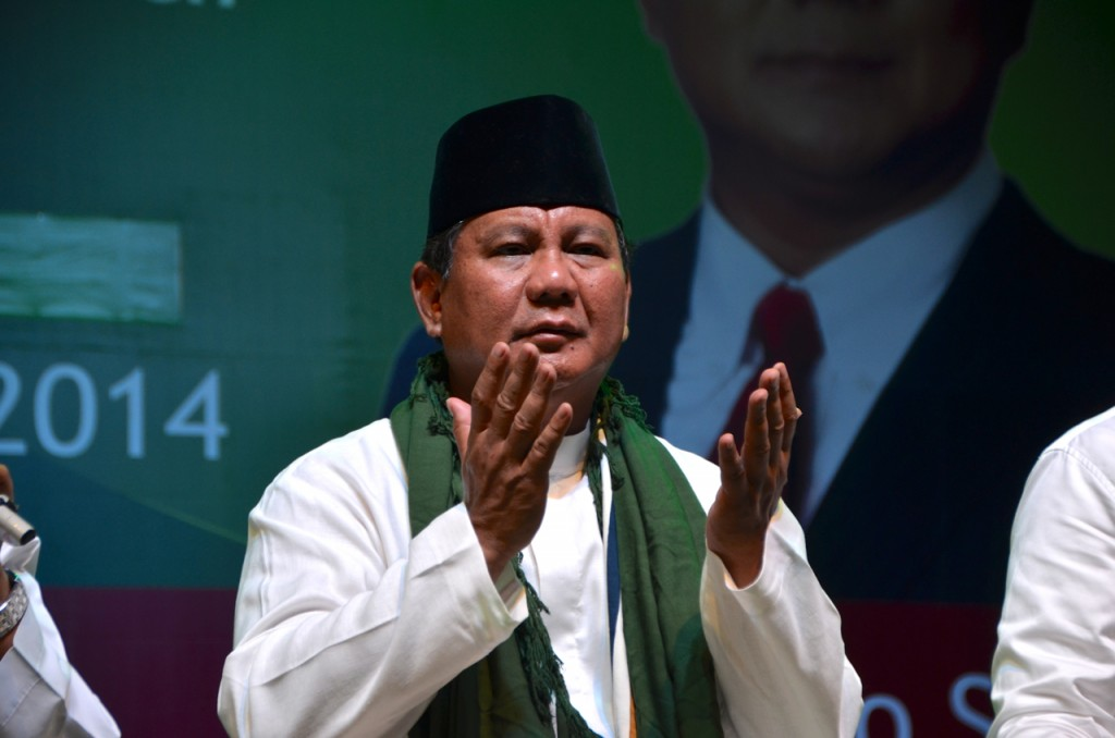 Prabowo Subianto at pre-election paryer event in Jakarta (Photo: Simon Roughneen)