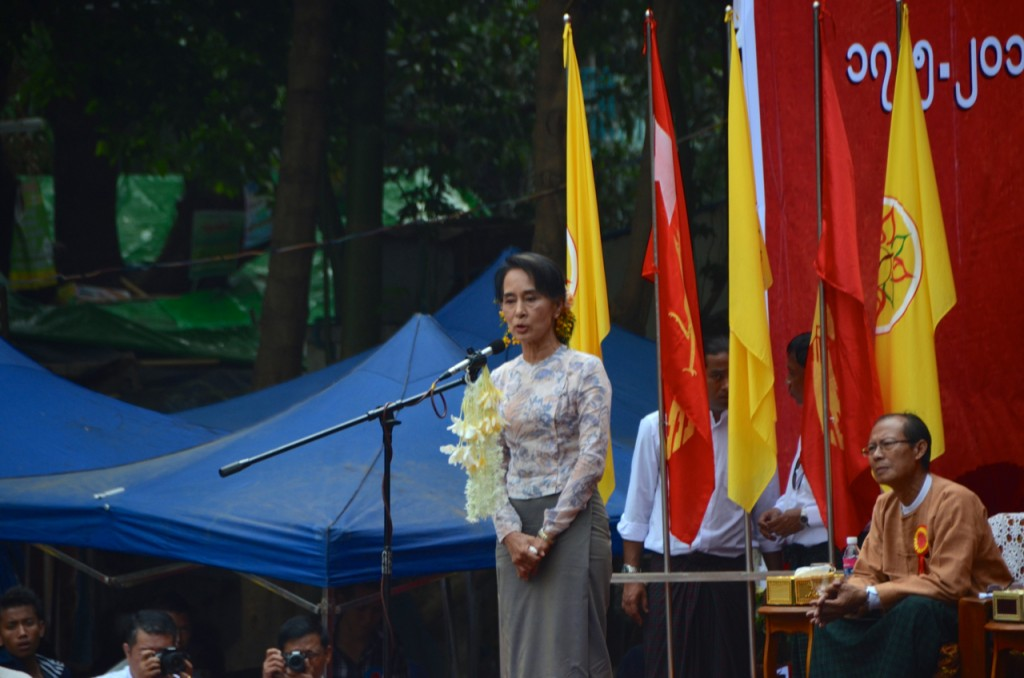 Aung San Suu Kyi addresses constitutional reform rally in Yangon on May 17