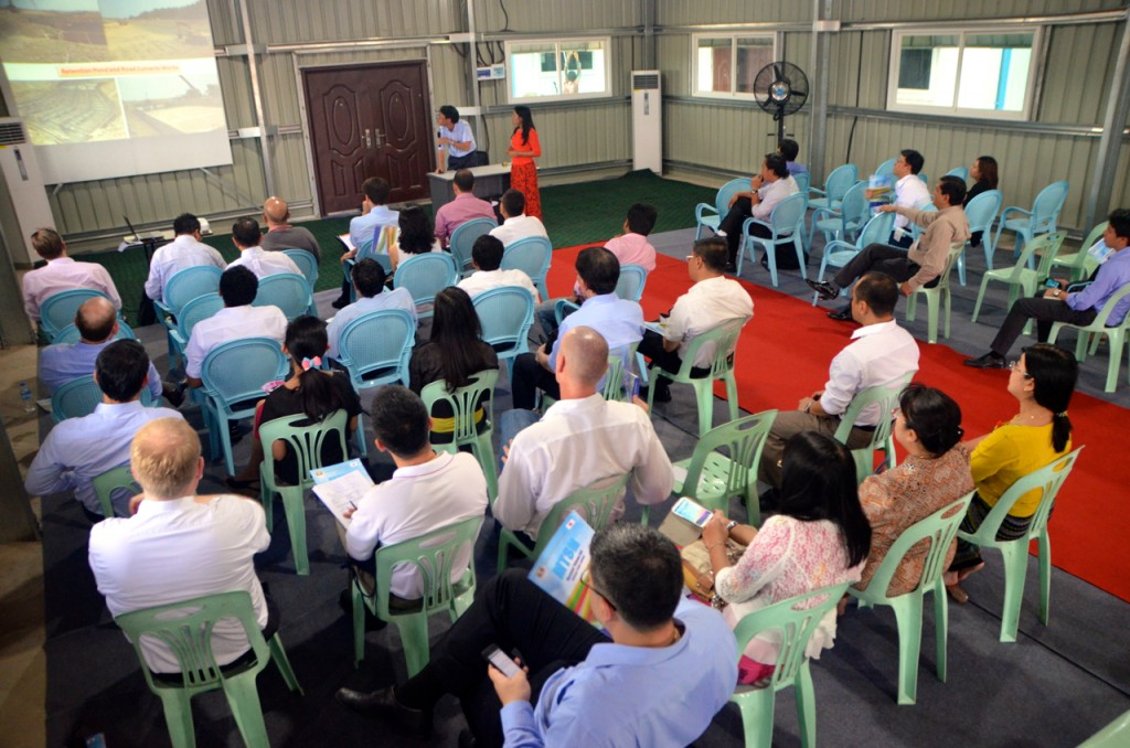 Thilawa SEZ officials give presentation to would  be investors (Photo: Simon Roughneen)