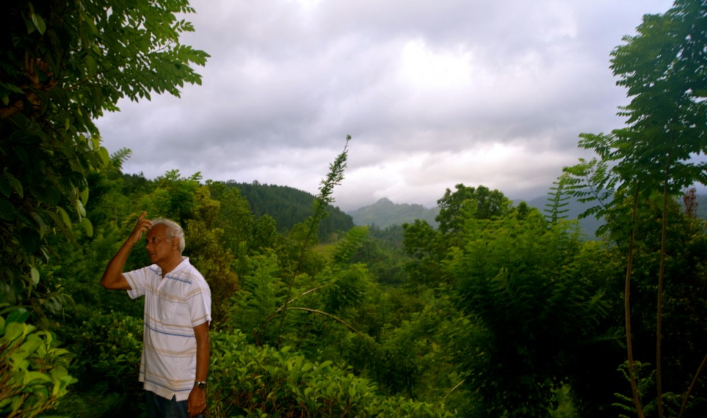 Bandulla Herath on his farm (Photo: Simon Roughneen)