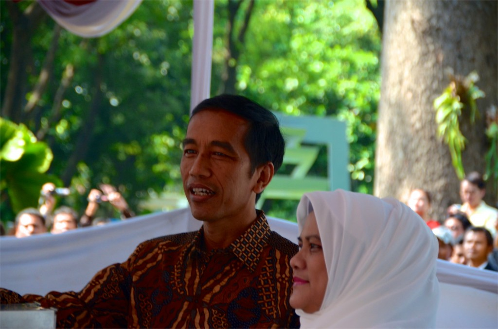 Joko Widodo and wife Iriana pictured at Taman Suropati, central Jakarta, where they voted on  July 9 2014 (Photo: Simon Roughneen)