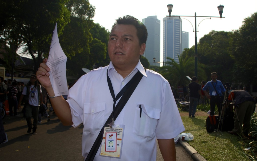 Prabowo campaign representative after walking out of July 22 result announcement (Photo: Simon Roughneen)