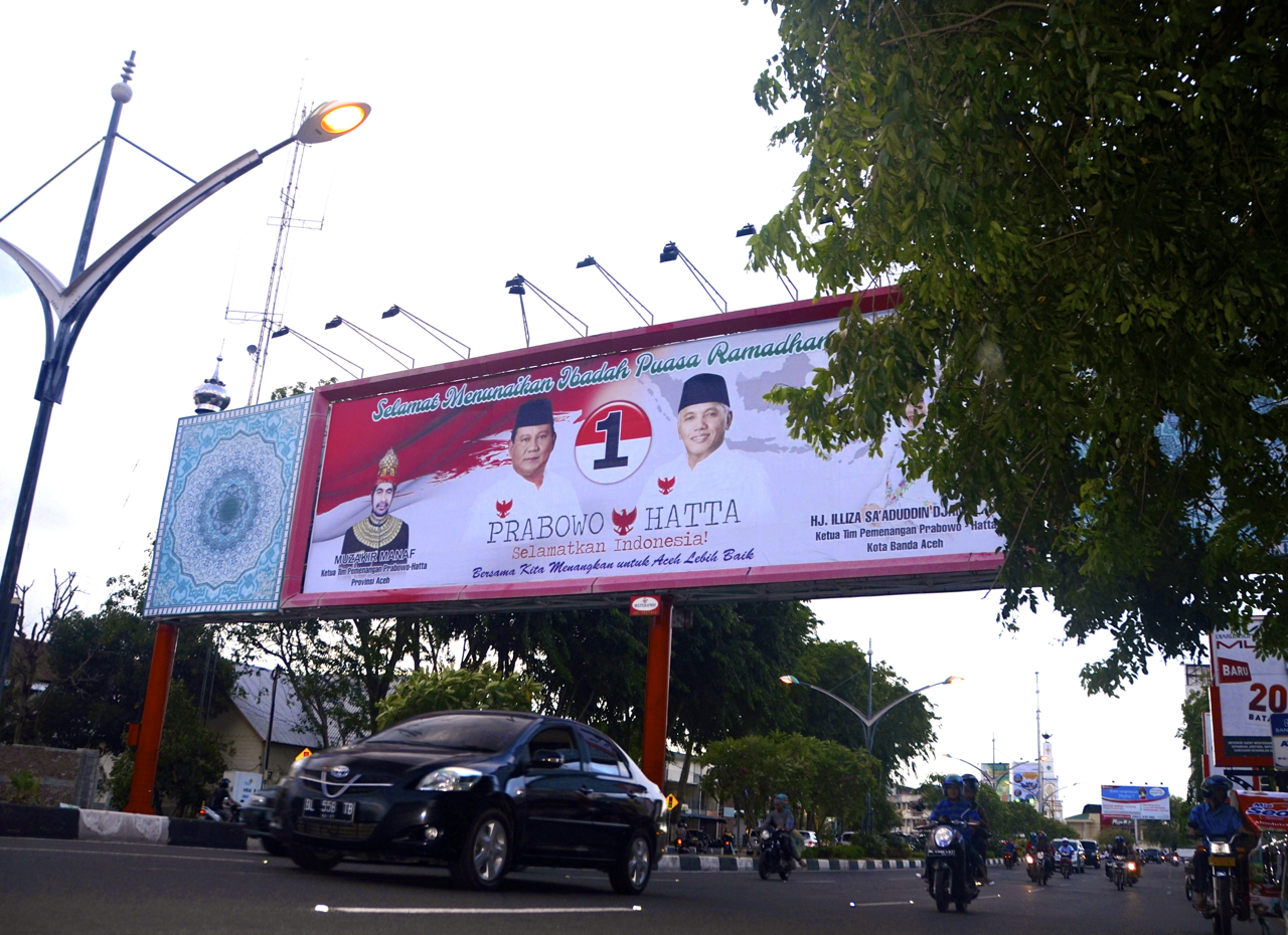 Campaign billboard for Prabowo Subianto, Banda Aceh (Photo: Simon Roughneen)