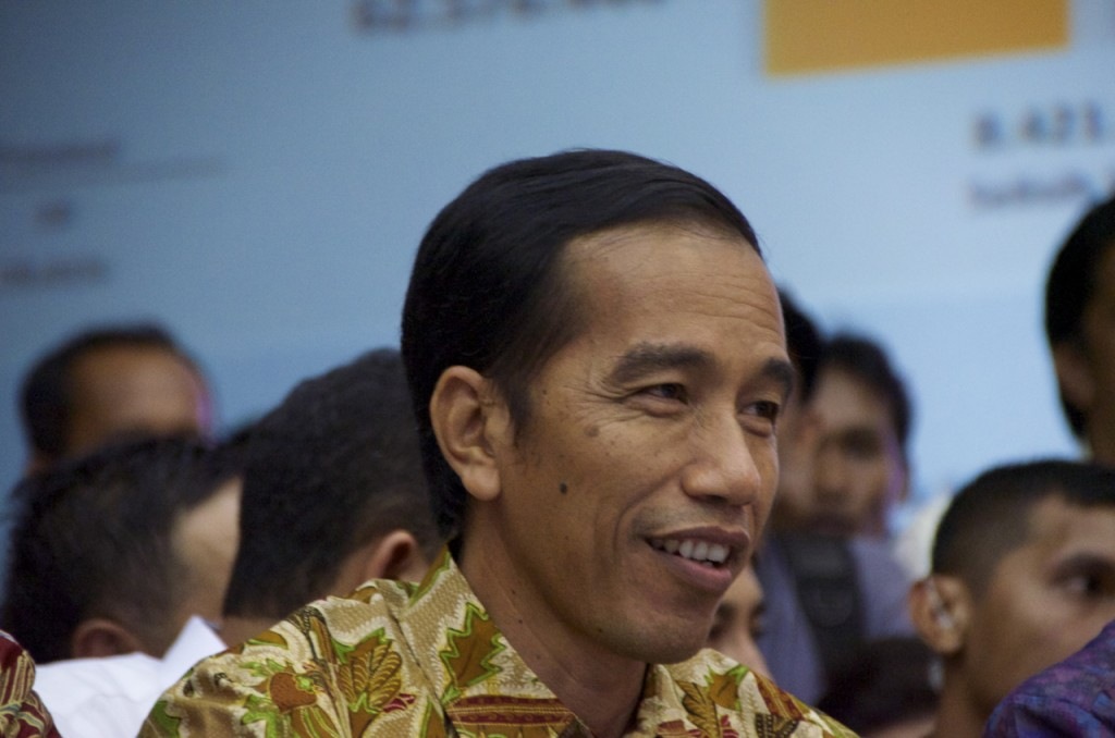 Joko Widodo listens as Indonesia's election commission declares him the winner of the 104 Presidential vote  (Photo: Simon Roughneen)