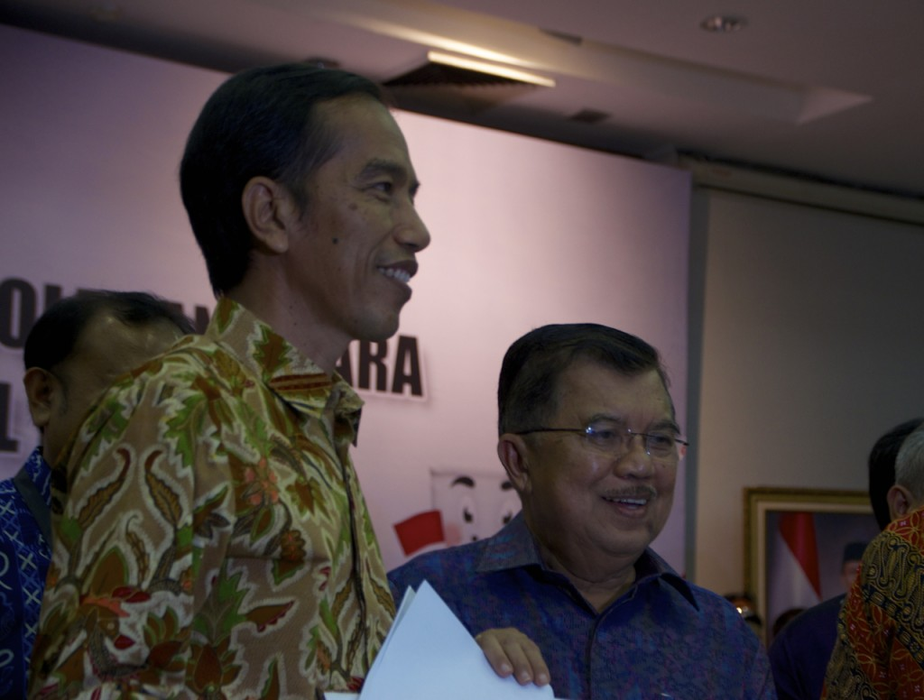 Joko Widodo and Jusuf Kalla, Indonesia's President and Vice-President elect, at Indonesia's Election Commission on Tuesday evening (Photo: Simon Roughneen)