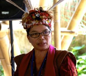 Forest preservationist Mardiana Deren speaking on Bali in early August  2014 (Photo: Simon Roughneen)