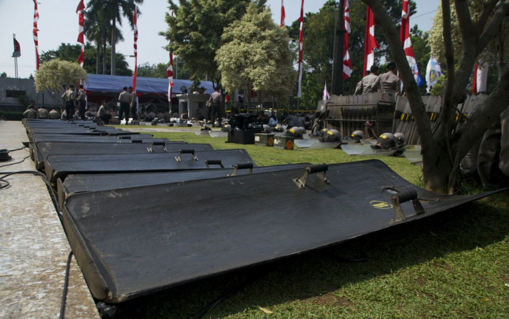 Riot police shields outside Indonesia's Constitutional Court (Photo: SImon Roughneen)