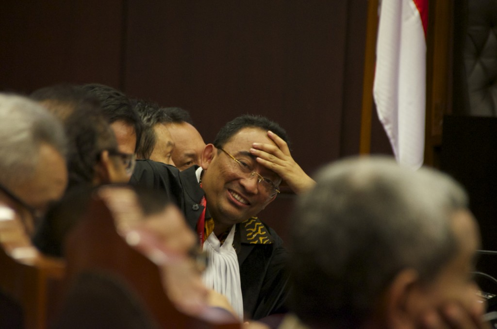 Firman Wijaya, a lawyer for the plaintiff, before verdict read-out at Constitutional Court on August 21 (Photo: Simon Roughneen)