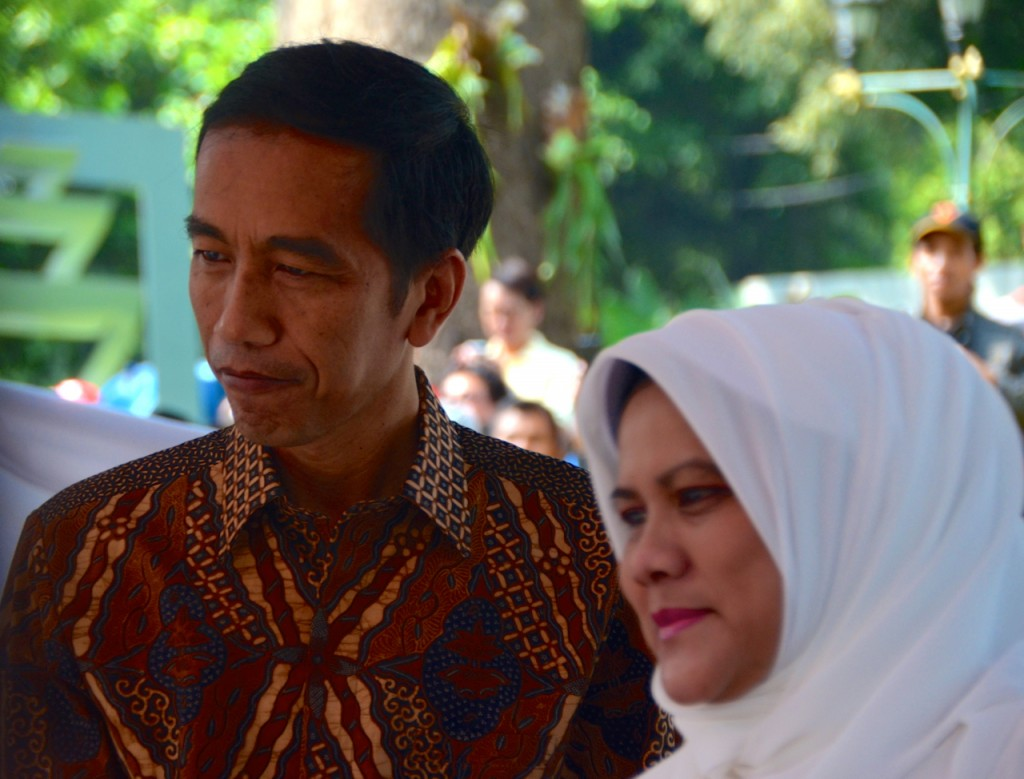 President-elect Joko Widodo and wife iriana after voting in the 2014 presidential elections, in central Jakarta (Photo: Simon Roughneen)
