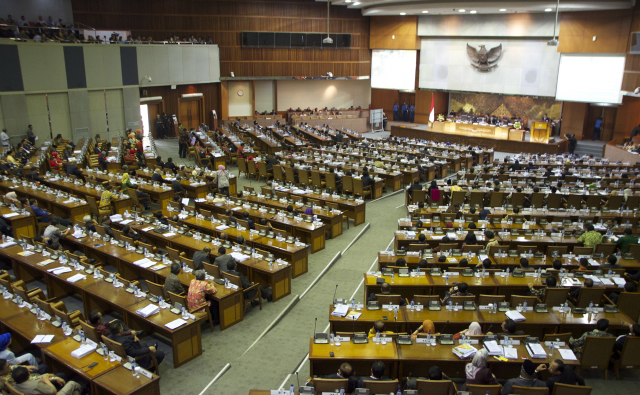 The Indonesian parliament just before the start of Thursday's debate on direct local elections (Photo: Simon Roughneen)