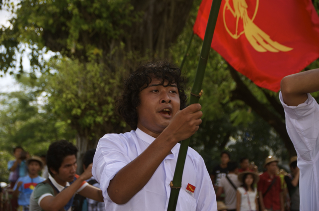 One of a group of around 150 students protesting in downtown Yangon on Nov. 14 (Photo: Simon Roughneen)