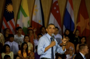 U.S. President Barack Obama fields questions at Yangon University on Nov 14 2014 (Photo: Simon Roughneen)