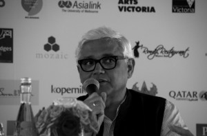 Novelist Amitav Ghosh speaking at the 2014 Ubud Writers and Readers Festival (Photo: Simon Roughneen)
