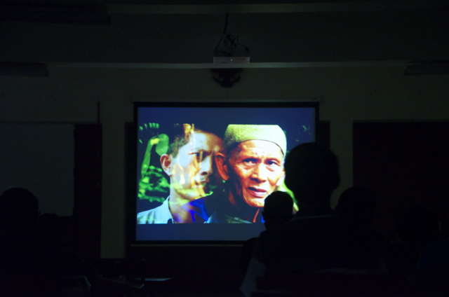 At a screening of The Look of SIlence in Jakarta on Feb, 2 2014 (Photo: Simon Roughneen)