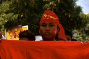 Protestor seeking education reform marching in Yangon on Feb. 8 (Photo: Simon Roughneen)
