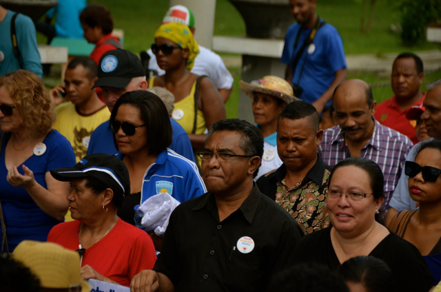 Rui Araujo, East Timor's new prime minister, attends a march in support of International Women's Day in Dili. (Photo: Simon Roughneen)