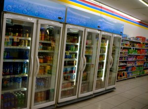 Booze-free. Inside a Jakarta convenience store (Photo: Simon Roughneen)