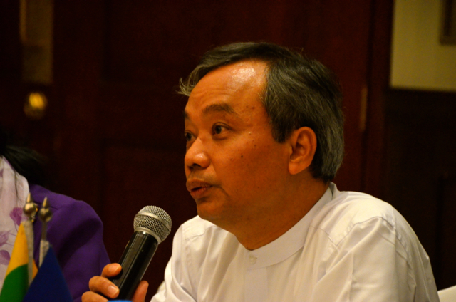 MGMA head Myint Soe speaking in Yangon on March 24 (Photo: Simon Roughneen)