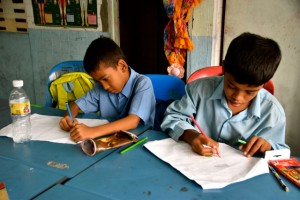 At class at the Rohingya Community School in Kuala Lumpur (Photo: Simon Roughneen)