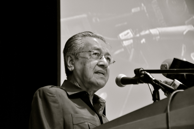 Former Malaysian PM Mahathir Mohamed speaking at a conference on Rohingya in Kuala Lumpur on June 12 (Photo: Simon Roughneen)