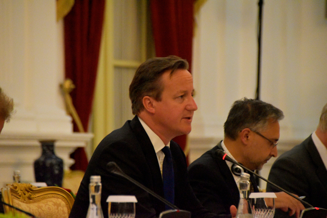David Cameron addresses Joko Widodo at the start of their bilateral meeting on July 27 (Photo: Simon Roughneen)
