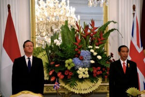 UK Prime Minister David Cameron and Indonesia President Joko Widodo at the Presidential Palace in Jakarta on July 27 (Photo: Simon Roughneen)
