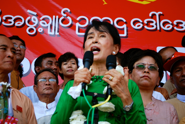 Aung San Suu Kyi speaks at a NLD rally in Pathein, Myanmar, during the run-up to the April 2012 by-elections (Photo: Simon Roughneen)