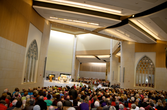 Interior of refurbished Knock basilica during Divine Mercy Sunday Mass (Photo: Simon Roughneen)